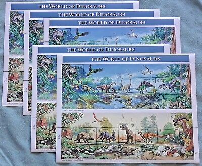 Five Sheets x 15 = 75 THE WORLD OF DINOSAURS 32¢ US PS Postage Stamps. Sc # 3136