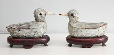 A Beautiful Pair Late c19th Mother of Pearl Chinese Duck Boxes, Concealed Lids