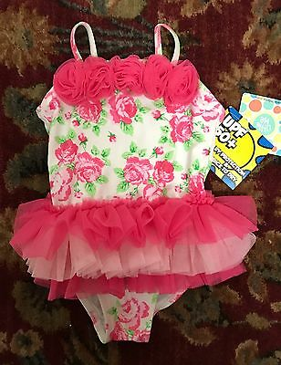 Pink Floral Little Me Bathing Suit Baby Girl Swimwear Size 18M Ruffle tutu