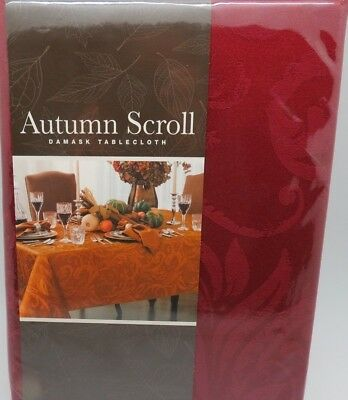 NEW Autumn Scroll DAMASK 60 X 84 Wine RED Holiday TABLECLOTH Oblong RECTANGLE