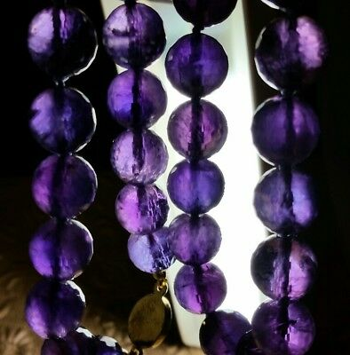 Vintage Chinese Genuine Natural Faceted Amethyst 12mm Bead Hand Knotted Necklace