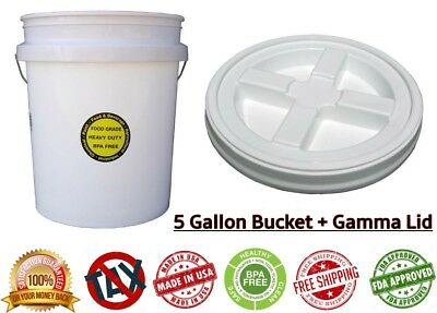 5 GALLON ALL PURPOSE BUCKET SEAL SCREW ON LID Durable Commercial Food Grade  Pail