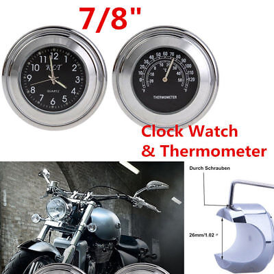 """7/8"""" 1"""" Motorcycle Accessory Handlebar Mount Clock Watch & Thermometer Universal"""