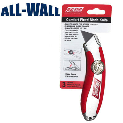 Wal-Board Fixed Blade Drywall Knife - Easy-Change, Rubber Grip Non-Retractable