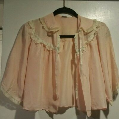 Vintage DORA GOTTLIEB Soft Shell Pink Satin and Lace Bed Jacket