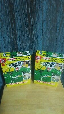 Grab Bag Clip To Cart Shopping Bags 2 Bags Lot of 2 - 4 Bags Total - New