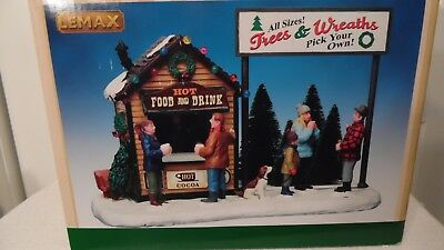 Christmas Village House, Tree & Wreath Stand Plus Hot Food & Drinks In Box Lemax