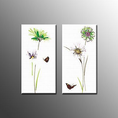 Framed Canvas Art Flowers Painting Print Picture For Home Wall Decoration-2pcs