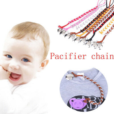 Baby Infant Braided Faux Leather Pacifier Clips Holder Chain Strap Pacifier Clip