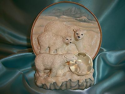 """Endangered Species Plate Collection """"The Polar Bear"""" Plate & Water Globe 71037B"""