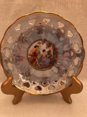 """Lefton China Hand Painted Plate With Cut Out Hearts & Gold Trim 5 3/4"""""""