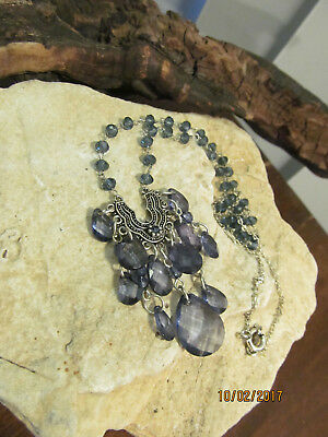 Vintage Silver tone Wire Wrapped Blue Gray Faceted Crystals Tear Drop Necklace