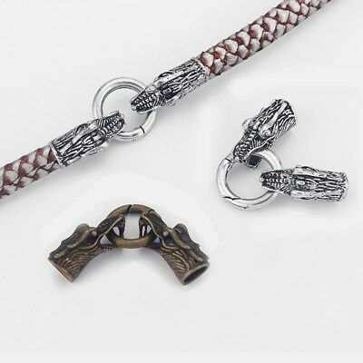3Sets Antique Silver/Bronze Dragon Head End Cap Spring Clasp for 8mm Round Cord