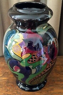 Vintage Gouda Vase - 8 Inches Tall - Glossy Green, Black, Maroon, Purple