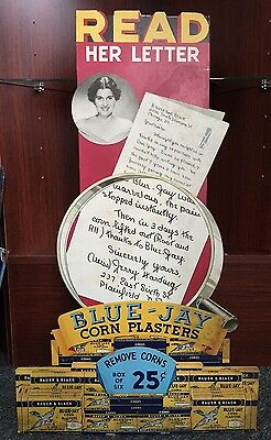 Vintage Large BLUE JAY Corn Plasters Store Counter Display Advertising Sign