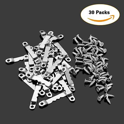 Silver Hanging Hook 30/60Pcs Saw Tooth Picture Frame Hanger & Screws 42.4×6.4mm