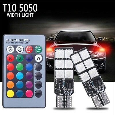 2*T10 12 SMD 5050 RGB LED Car Wedge Side Light Reading Lamp with Remote Co UKYQ