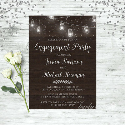 Engagement Invitation Rustic Wood Lace Wedding Invite Party Invitations