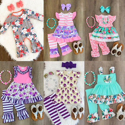 US Stock Kids Baby Girl Flower Lace Tops Clothes+Pants Summer 2Pcs Outfits Sets