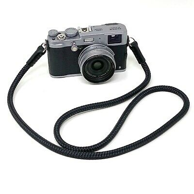 Silky Cord / Rope & Leather Camera Neck Strap, 36in/91cm, Handmade by Cordweaver