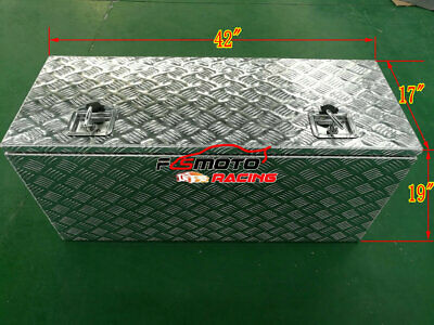 "42"" Aluminum Pickup Truck Trunk Under Bed Tool Box Underbed Trailer Storage+Lock"