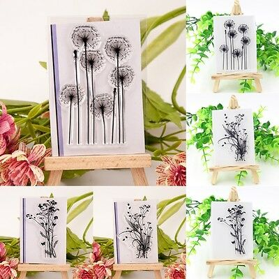 Grass Flowers Transparent Clear Silicone Stamp Seal DIY Scrapbooking Photo Udww