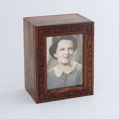 Wood Cremation Urn with photo frame. Will hold funeral container with cremains