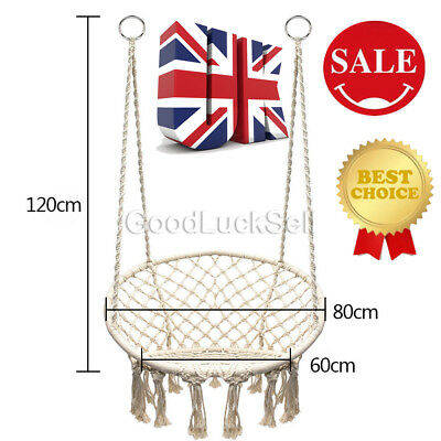 Beige Hanging Cotton Rope Macrame Hammock Chair Swing Outdoor Home Garden 120kg
