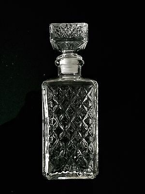 1980s Vintage Crystal Glass Diamond Cut Decanter Bottle with Stopper