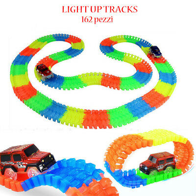 Pista Luminosa Light Up Tracks Per Bambini Con Automobile