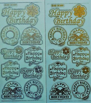 Embossed on Clear Happy Birthday PEEL OFF STICKERS Butterflies Labels Banners