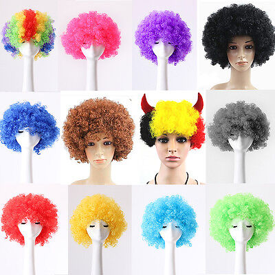 80s CURLY AFRO WIG MULTI COLOUR PARTY CLOWN FUNKY DISCO KIDS CHILDS SELLIN Uxym