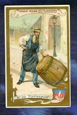 chromo Poulain Marchand de Tonneaux Paris Barrels Seller Vintage Trade card