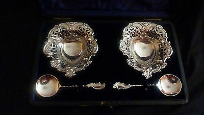 Two Edward VII Cased  Sterling Silver Dishes & spoons by W.Hutton & Sons London