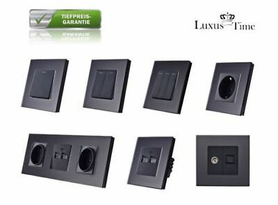 Sockets Light Switch Wall Switch Toggle switch Glass frame LUX4999 Black