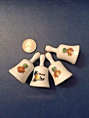 Set of 4 Vintage Souvenir Porcelain Miniature Bells from Hawaii
