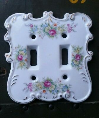 Vintage Porcelain White Floral Gold Decorative Double Light Switch Cover 7007