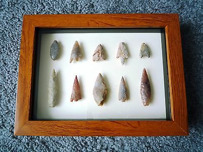 Neolithic Arrowheads in 3D Picture Frame, Authentic Artifacts 4000BC (1063)