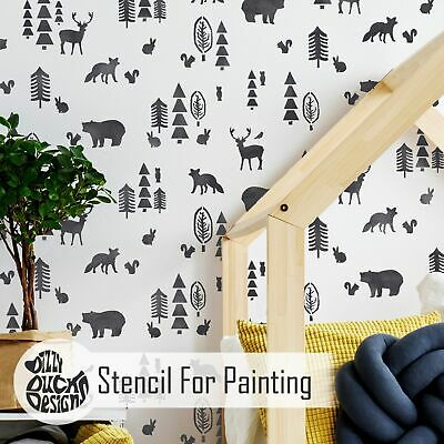 NORDIC FOREST Scandi Scandinavian Nursery Childs Room Furniture Wall Stencil