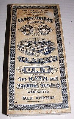 Clark's Thread Co O.N.T Box for Six Cord White Thread w/ Tracing Wheel & 6 Spool