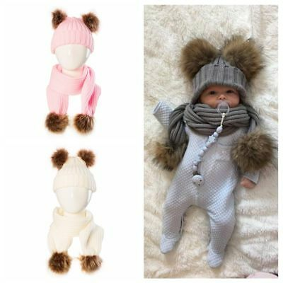 Kids Infant Fur Pompom Ball Winter Scarf Baby Earbud Hat Warm Knit