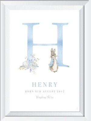 Personalised baby child Peter Rabbit name print picture gift nursery picture art