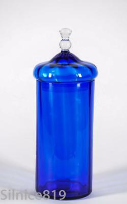 Vintage COBALT BLUE Paneled Glass APOTHECARY JAR Canister Bottle