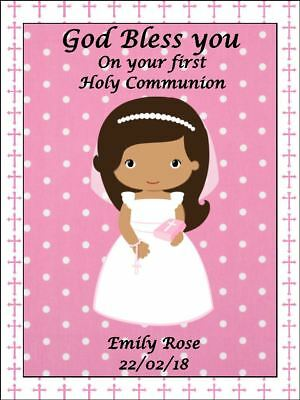 Holy communion pink girl Personalised rectangle Edible Cake Topper Wafer Icing