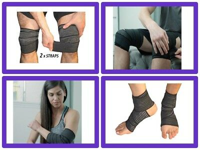 Compression Bandage for Legs Knee Ankle Wraps Velcro Straps Support Elastic
