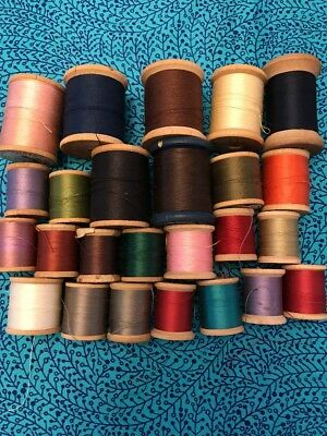 Lot of 25 Antique Vintage WOODEN Thread Spools Mixed Sizes & Brands