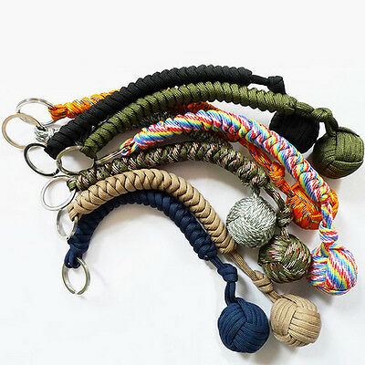 Outdoor Sport Self Defense Paracord Monkey Fist Steel Ball Keychain Keyring Ball