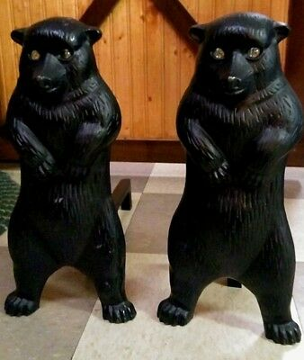 Vintage Cast Iron/Fireplace  Andirons BEARS W/Glass Eyes