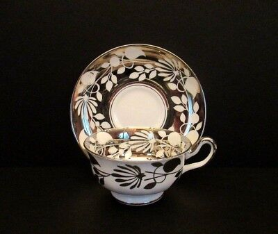 Royal Chelsea White and Silver Porcelain Cup and Saucer, England