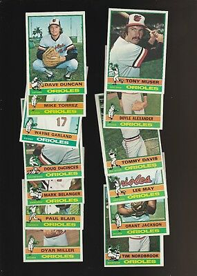 1976 1978 1979 1977 1980 Topps Orioles Baseball 91 Card Lot